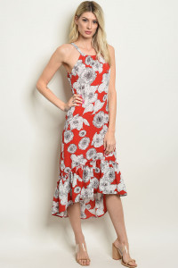 S15-12-3-D306 RED FLORAL DRESS / 3PCS