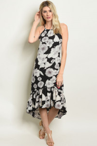S19-9-2-D306 BLACK FLORAL DRESS / 3PCS