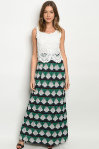S11-14-1-D257 WHITE GREEN DRESS 2-2-2