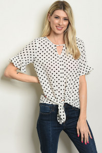 C53-B-3-T3704 IVORY BLACK WITH DOTS TOP 2-2-2