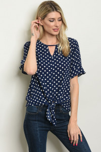 C45-B-2-T3704 NAVY IVORY WITH DOTS TOP 2-2-2
