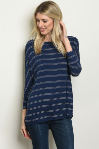 C46-B-3-T7154 NAVY WHITE STRIPES TOP 3-3