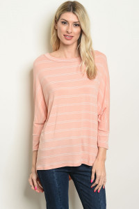 C48-B-3-T7154 PEACH WHITE STRIPES TOP 3-3