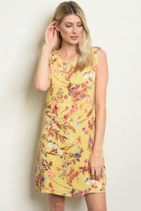 C52-A-2-D1024 YELLOW FLORAL DRESS 2-2-2