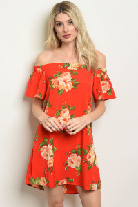 S22-13-2-D2284 RED WITH FLOWER PRINT DRESS 3-2-2