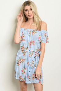 S22-13-2-D1750 BLUE WHITE FLORAL DRESS 2-1-1
