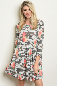 C54-A-4-D9730 GRAY CAMOUFLAGE FLORAL DRESS 2-2-2