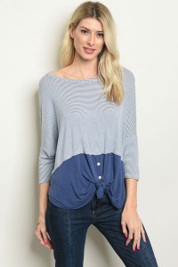C67-A-1-T8161 INDIGO IVORY STRIPES TOP 4-3