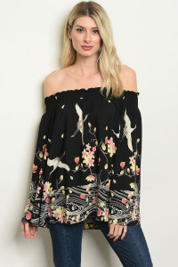 C70-A-5-T6367 BLACK FLORAL WITH BIRD TOP 2-2-2