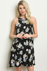S21-5-3-D41091 BLACK WITH FLOWER PRINT DRESS 2-2-2