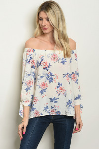C74-B-3-T6747 IVORY FLORAL TOP 2-2-2