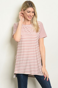 C80-A-5-T7959 MAUVE IVORY STRIPES TOP 2-2-2