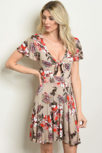 C81-A-6-D9706 TAUPE FLORAL DRESS 2-2-2