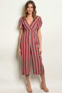 S21-7-1-J71878 WINE BLUE STRIPES JUMPSUIT 3-2-1