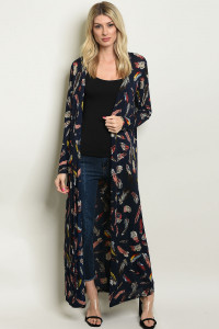 S4-1-3-C303 NAVY WITH FEATHERS PRINT CARDIGAN 2-2-2