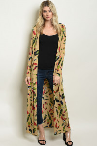 S9-19-3-C303 TAN WITH FEATHERS PRINT CARDIGAN 1-2
