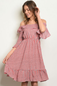 S22-6-4-D5506 RED WHITE CHECKERS DRESS 2-2-2
