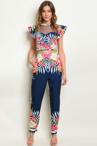 S19-8-2-SET08778 NAVY FLORAL TOP & PANTS SET 3-2-2