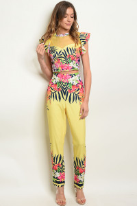 S18-6-4-SET08778 YELLOW FLORAL TOP & PANTS SET 2-2-2