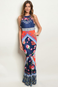 S23-9-2-D10915 NAVY RED FLORAL DRESS 1-1-2