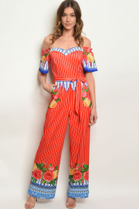 S19-6-4-J11928 RED WHITE STRIPES OFF SHOULDER JUMPSUIT 2-2-2