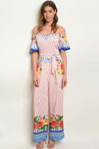 S18-7-2-J11928 WHITE RED STRIPES OFF SHOULDER JUMPSUIT 1-2-2