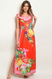 S19-4-3-D09135 RED FLORAL DRESS 2-2-2
