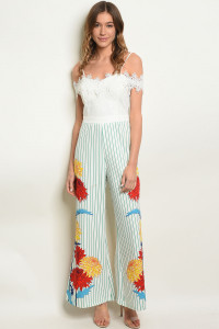 S24-2-4-J17933 WHITE GREEN STRIPES JUMPSUIT 2-2-2