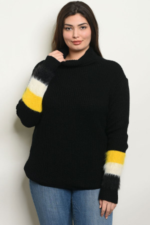 S4-1-3-S9852X BLACK PLUS SIZE SWEATER 2-2-2
