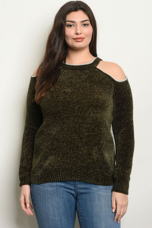 S4-2-2-S9784X OLIVE PLUS SIZE SWEATER 2-2-2