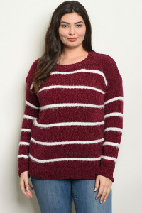 S4-2-3-S9850X BURGUNDY WHITE PLUS SIZE SWEATER 2-2-2