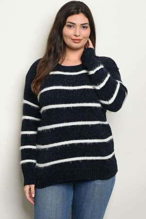 S4-1-2-S9850X NAVY WHITE PLUS SIZE SWEATER 2-2-2