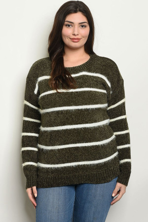 S4-1-2-S9850X OLIVE WHITE PLUS SIZE SWEATER 2-2-2