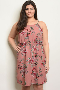 C63-B-1-D92005X MAUVE FLORAL PLUS SIZE DRESS 3-2-2