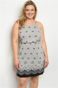 C70-A-1-D9083BX BLACK WHITE PLUS SIZE DRESS 2-2-1