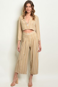 S13-10-1-SET1282 NUDE IVORY STRIPES TOP & PANTS SET 3-2-1