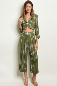 S13-10-1-SET1282 OLIVE OFF WHITE STRIPES TOP & PANTS SET 3-2-1