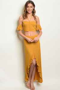 S13-12-2-SET1474 MUSTARD TOP & SKIRT SET 3-2-1