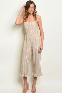 S22-12-5-J1213 TAUPE STRIPES JUMPSUIT 3-2-1