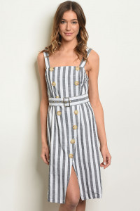 S20-12-4-D1595 BLACK WHITE STRIPES DRESS 3-2-1