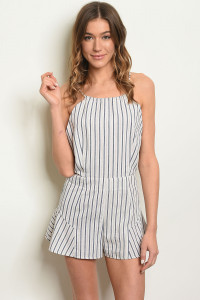 S23-13-4-R1088 IVORY NAVY STRIPES ROMPER 3-2-1