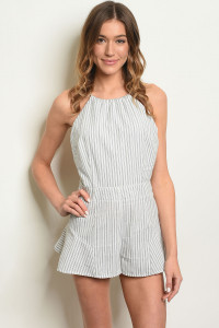 S21-12-4-R1088 IVORY GRAY STRIPES ROMPER 3-2-1