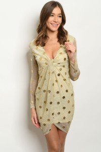S15-3-2-D10181 NUDE GOLD WITH DOTS DRESS 3-2-1  ***WARNING: California Proposition 65***