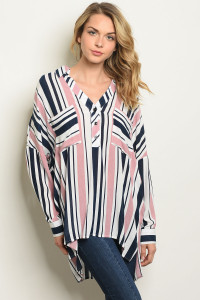 S19-10-3-T10283 NAVY MAUVE STRIPES TOP 3-3
