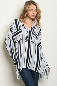 S15-6-2-T10283 NAVY BLUE STRIPES TOP 3-3