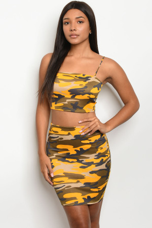C50-B-4-SET15015 YELLOW CAMOUFLAGE TOP & SKIRT SET 2-2-2