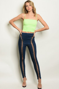 S12-7-1-P22039 LACE UP DENIM PANTS 2-2-2