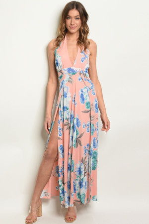 Z-B-D3495 PEACH BLUE FLORAL DRESS 2-2-2
