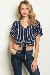 C34-B-2-T9935 NAVY WHITE STRIPES TOP 2-2-2