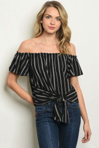 C24-B-2-T96162 BLACK WHITE STRIPES TOP 2-2-2